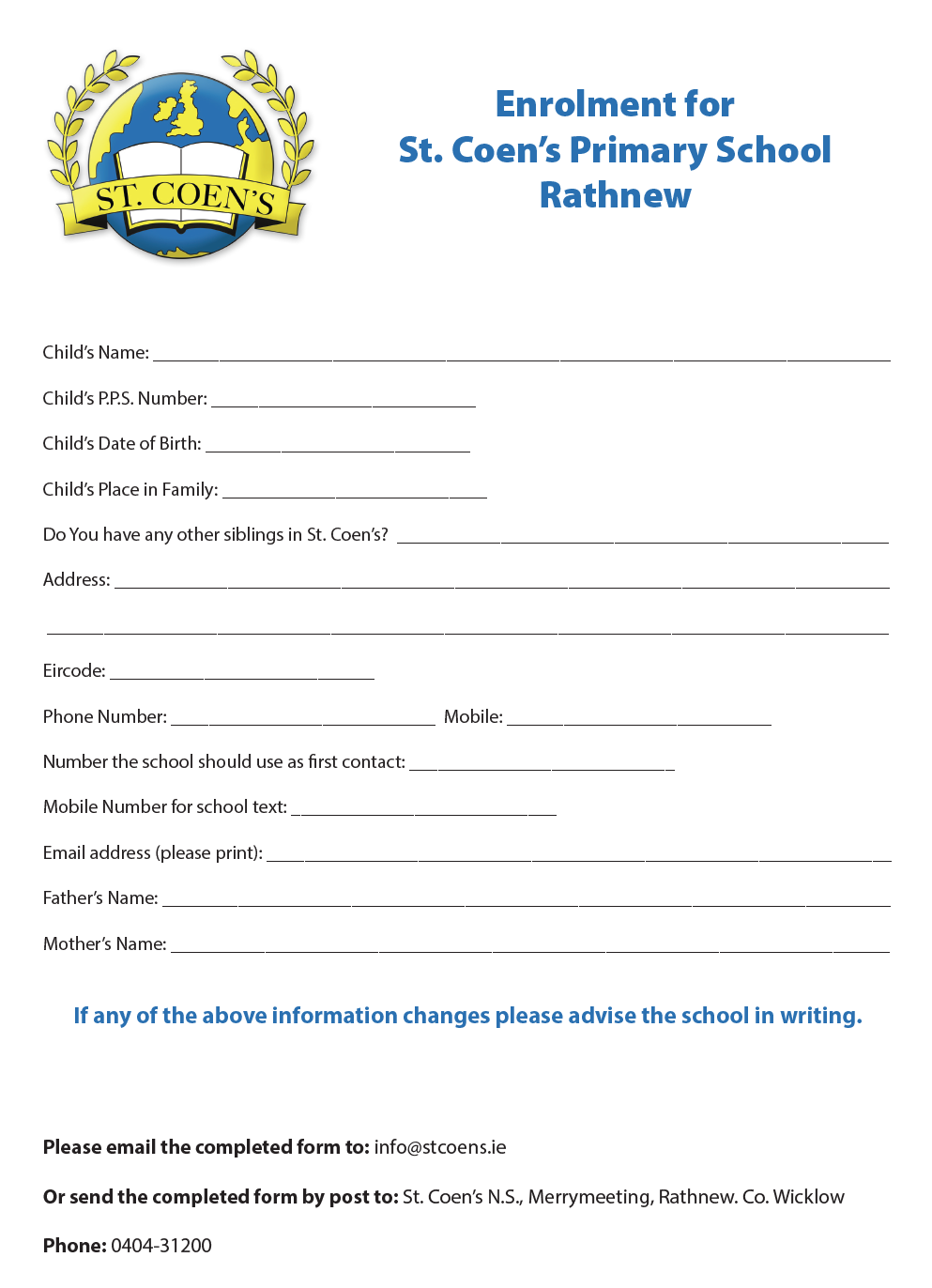 Enrolment for St. Coen's Primary School Rathnew